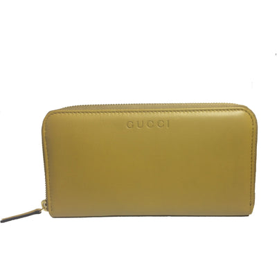 Gucci Women's Mustard Yellow Leather Zip Around Large Wallet 363423
