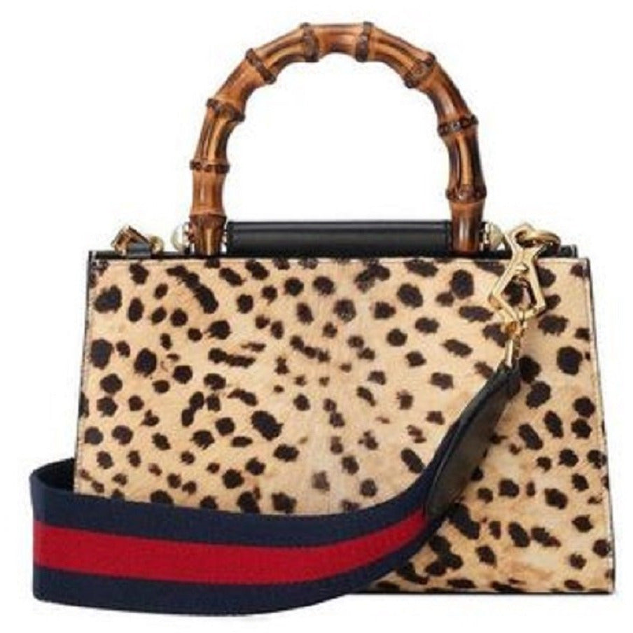 Gucci Women's Nymphaea Leopard Print Pony Hair Black Leather Large Bag 453764