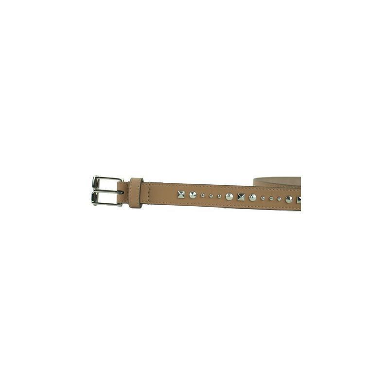 Gucci Women's Beige Silver Studded Leather Silm Belt Size: 85/34 380561