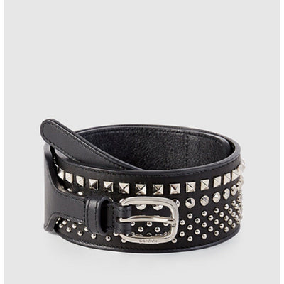 Gucci Women's Black Silver Studded Leather Wide Belt Size 80/32 388985 Belts Gucci