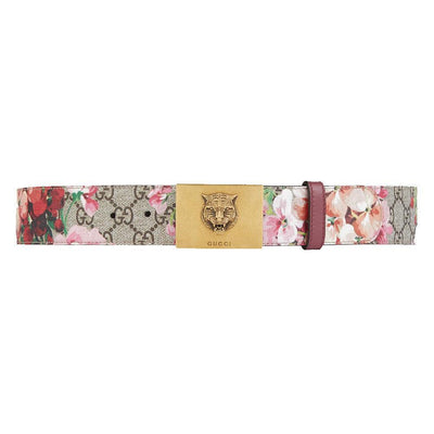 Gucci Women's Blooms Pink Leather Gold Lion Buckle Belt 434559 Size 95/38 Belts Gucci