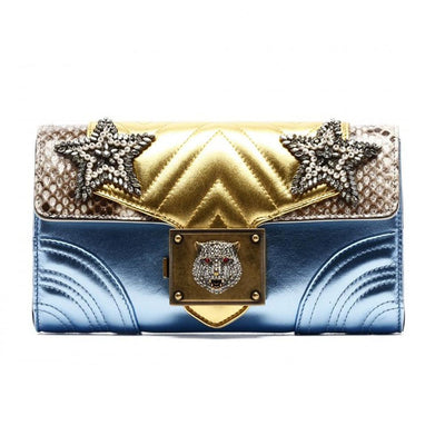 Gucci Women's Broadway Star Leather Chain Blue/Gold Shoulder Bag 432584 Handbags Gucci