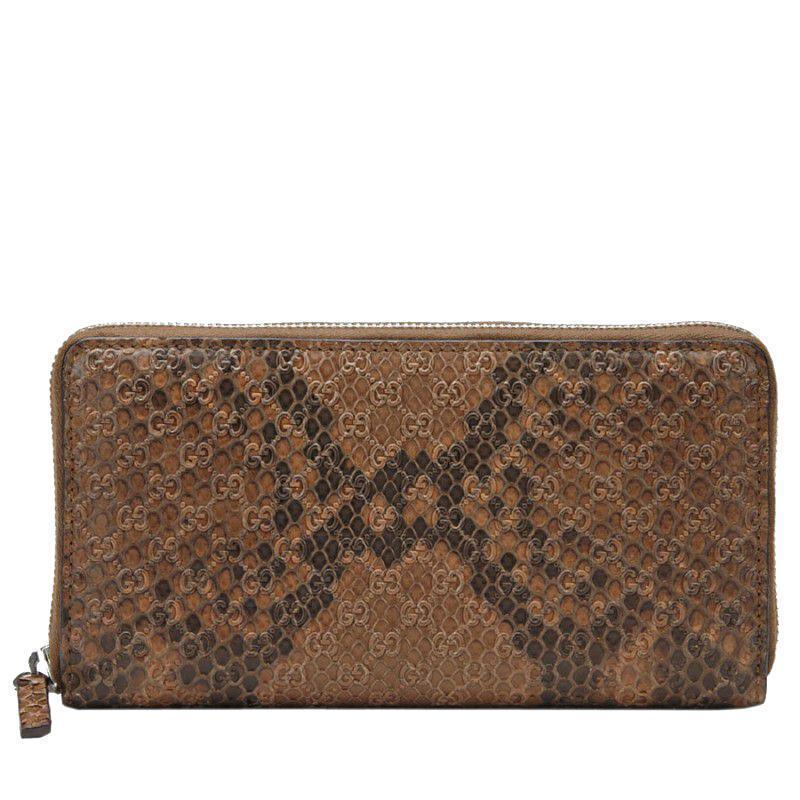 Gucci Women's Brown Python Micro GG Logo Full Zip Wallet Travel Case 307987