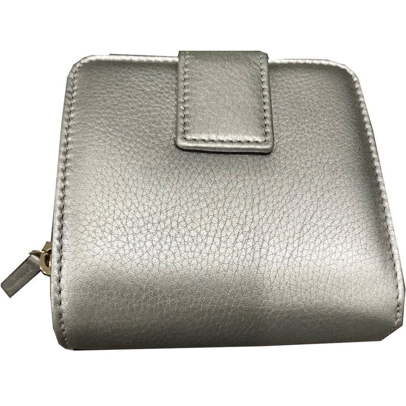 Gucci Women's Calf Leather French Flap Wallet Metallic Silver 346056