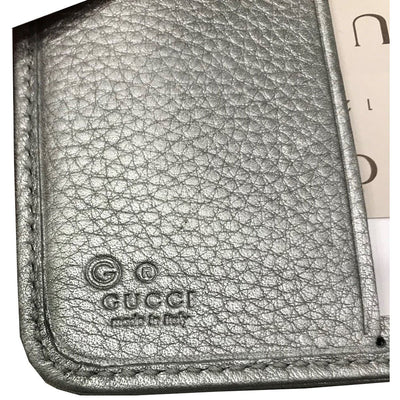 Gucci Women's Calf Leather French Flap Wallet Metallic Silver 346056 Wallets Gucci