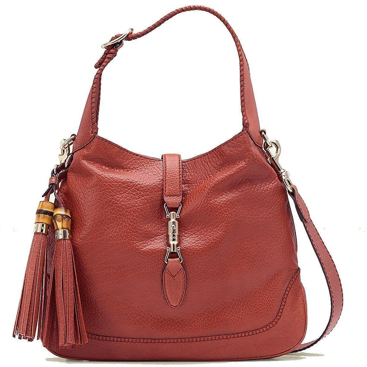 Gucci Women's Coral Red Jackie Leather Hobo Handbag Bamboo Tassel 246907 Handbags Gucci