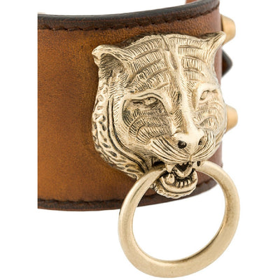 Gucci Womens Cuir Brown Feline Head Tiger Pelle Toscano Leather Cuff Bracelet 504036