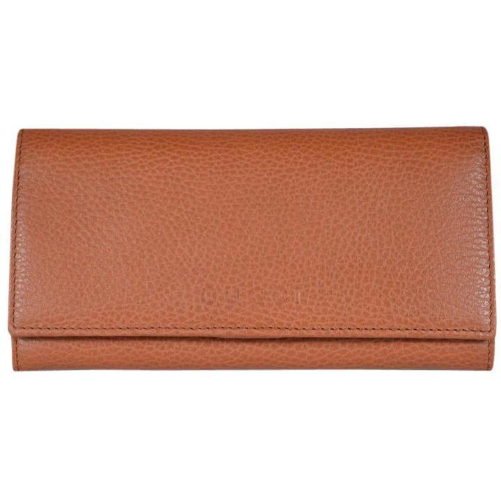 Gucci Women's Dollar Calf Pebbled Leather Continental Flap Wallet Saffron 346058 Wallets Gucci