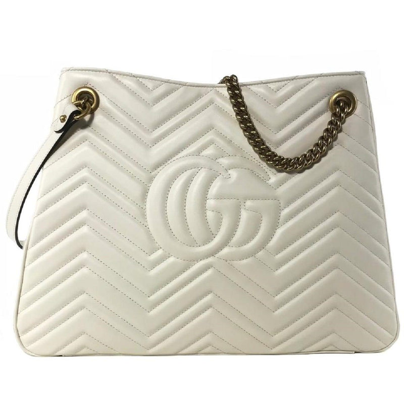 Gucci Women's Marmont GG White Leather Shoulder Handbag Chain Strap 453569 Handbags Gucci