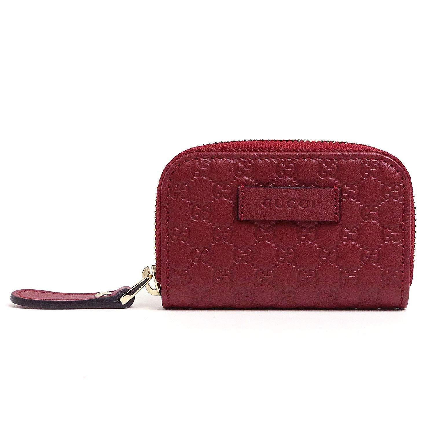 Gucci Womens Microguccissima Rosso Red Soft Leather Zip Around Money Case 449896