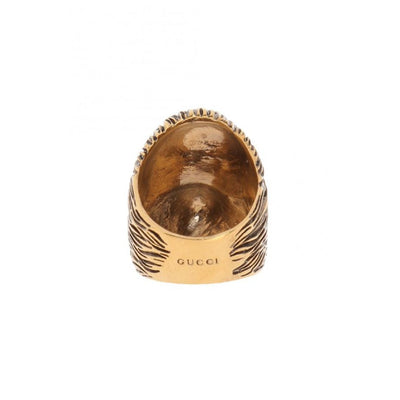 Gucci Womens Ottone Dorato Size Medium Metal Monkey Head Ring 524146 Size 7