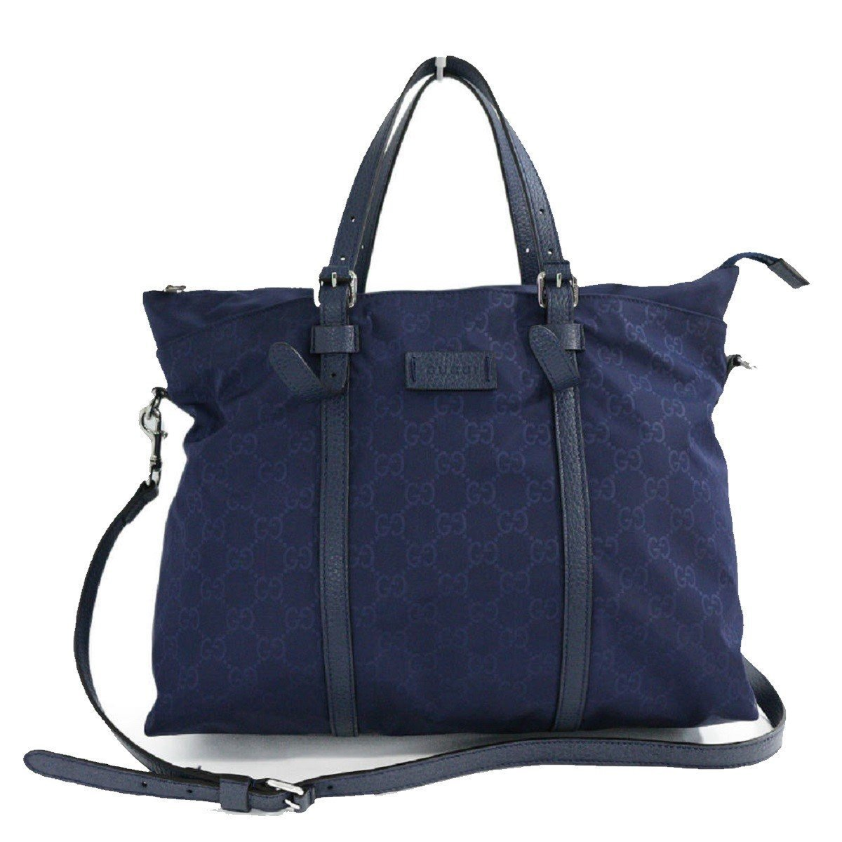 Gucci Zip Top Guccissima Navy Blue Detachable Strap GG Nylon Tote Handbag 510332