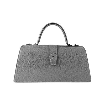 Hester van Eeghen Classic Klipper Wide Asymmetrical Grey Leather Handbag