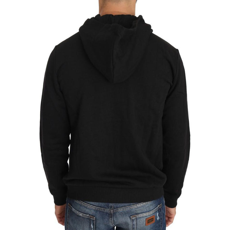 Hooded Black Cotton Full Zipper Sweater Versace Jeans