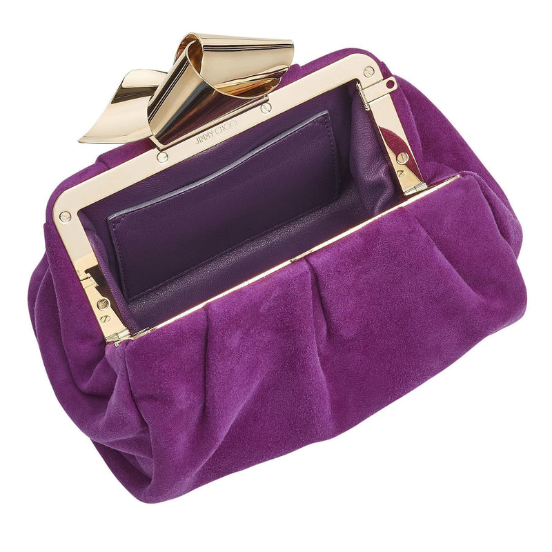 Jimmy Choo Cara Madeline Purple Suede Bow Knot Clasp Clutch Evening Bag SUE163