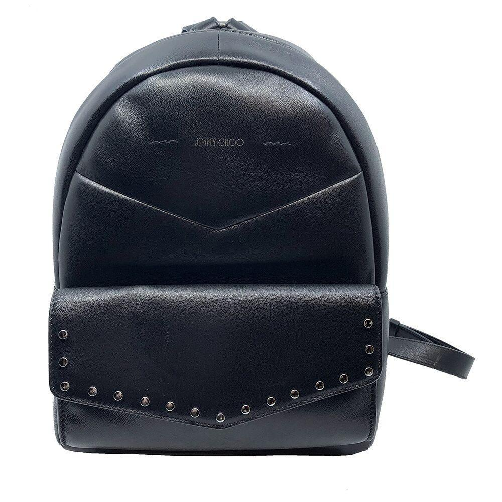 Jimmy Choo Cassie Black Leather Round Studs Zipper Chain Backpack UPS/184