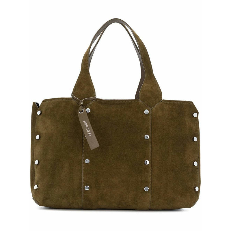 Jimmy Choo Lockett Suede & Metallic Shopper Green Olive Steel Satchel Tote