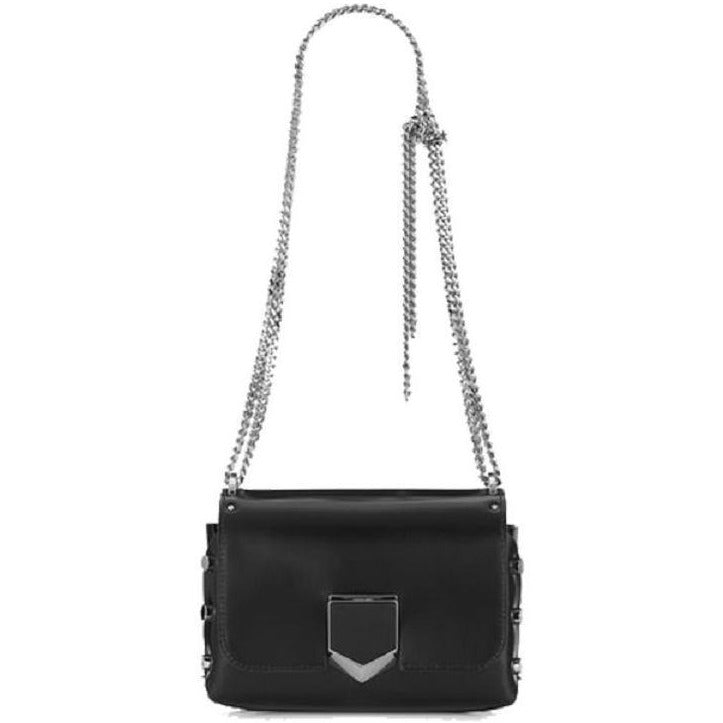 Jimmy Choo Women's Black Chrome Lockett Spazzolato Leather Bag SBK012573