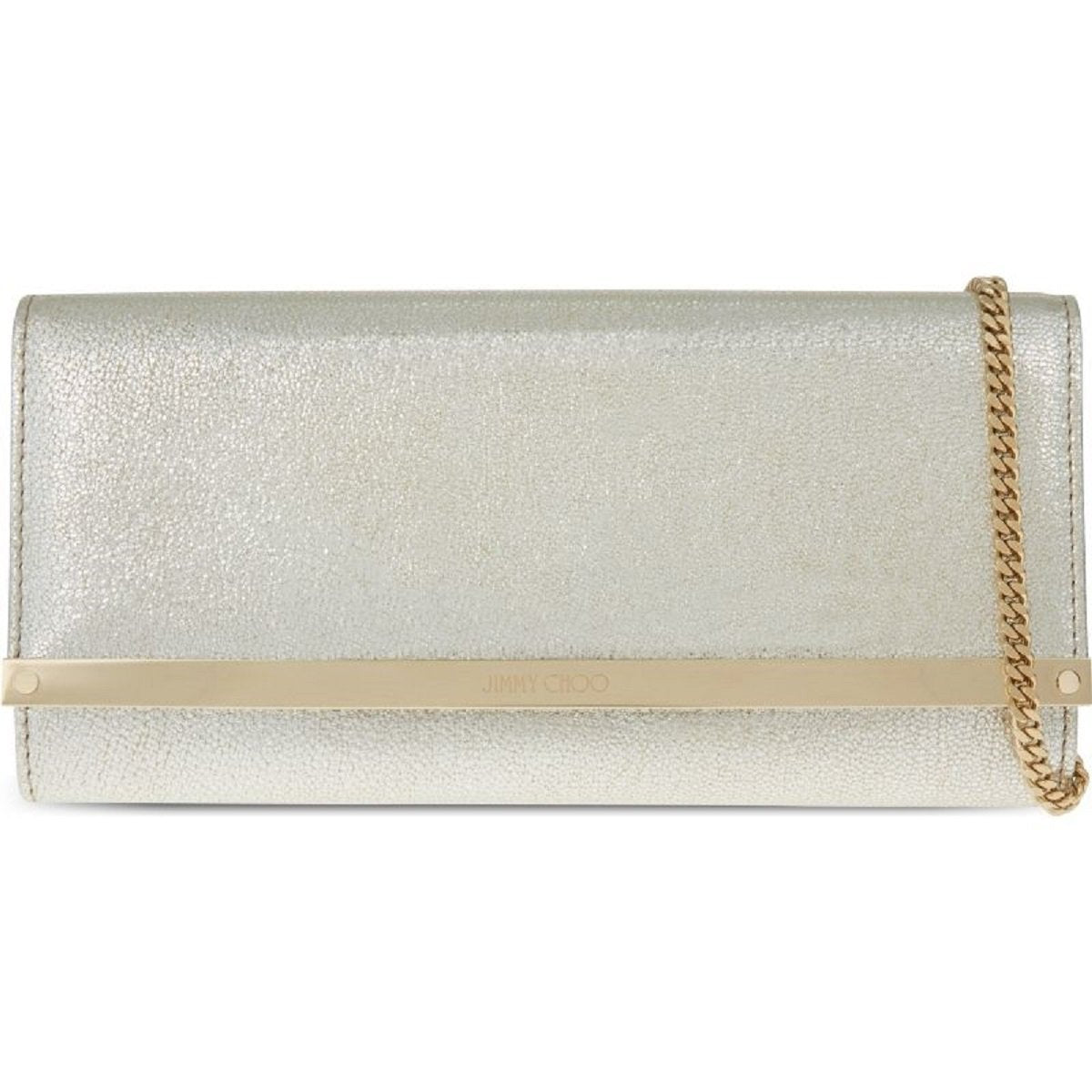 "Jimmy Choo Women's Metallic ""Milla"" Lambskin Silver Gold Leather Clutch Bag GLE151"