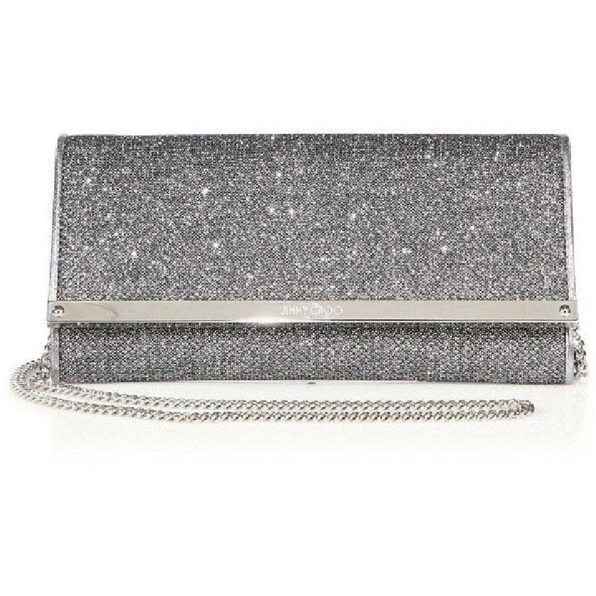 Jimmy Choo Women's Milla Glitter Metallic Anthracite Silver Clutch Bag LAG144