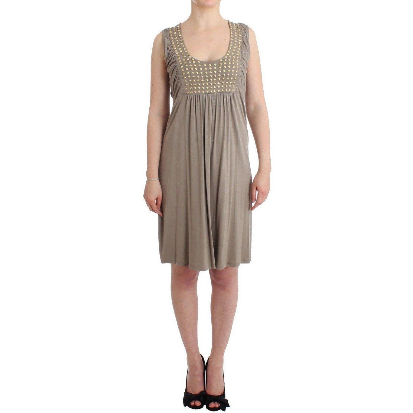 Khaki studded sheath dress Roccobarocco