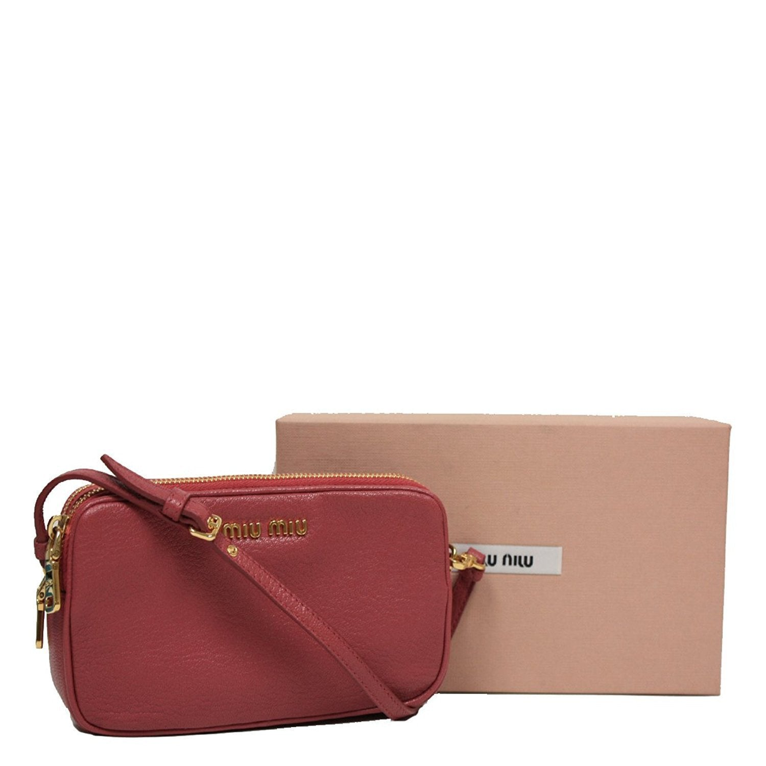 Miu Miu by Prada Women's Rose Pink Leather Wristlet Pouch Bag Small 5ARH02