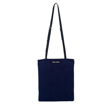 Miu Miu Camoscio Navy Suede Shoulder Hand Shopping Bag 5BG011