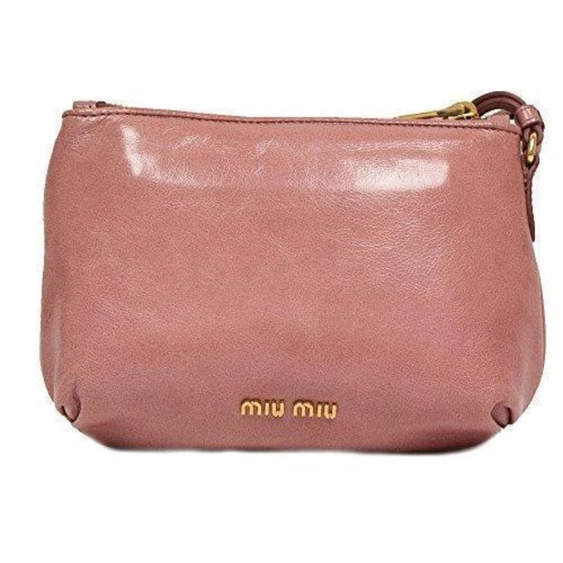 Miu Miu Classic Vitello Light Pink Leather Bow Wristlet Bag Small 5N1681