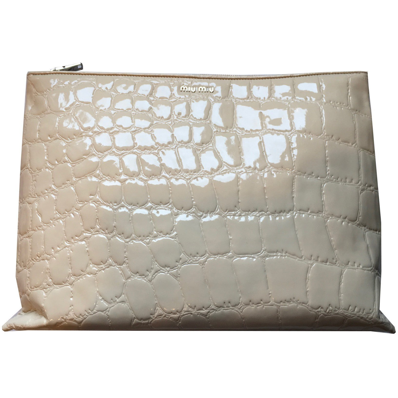Miu Miu Classic Women's Beige Patent Leather Alligator Large Clutch Bag 5BF029