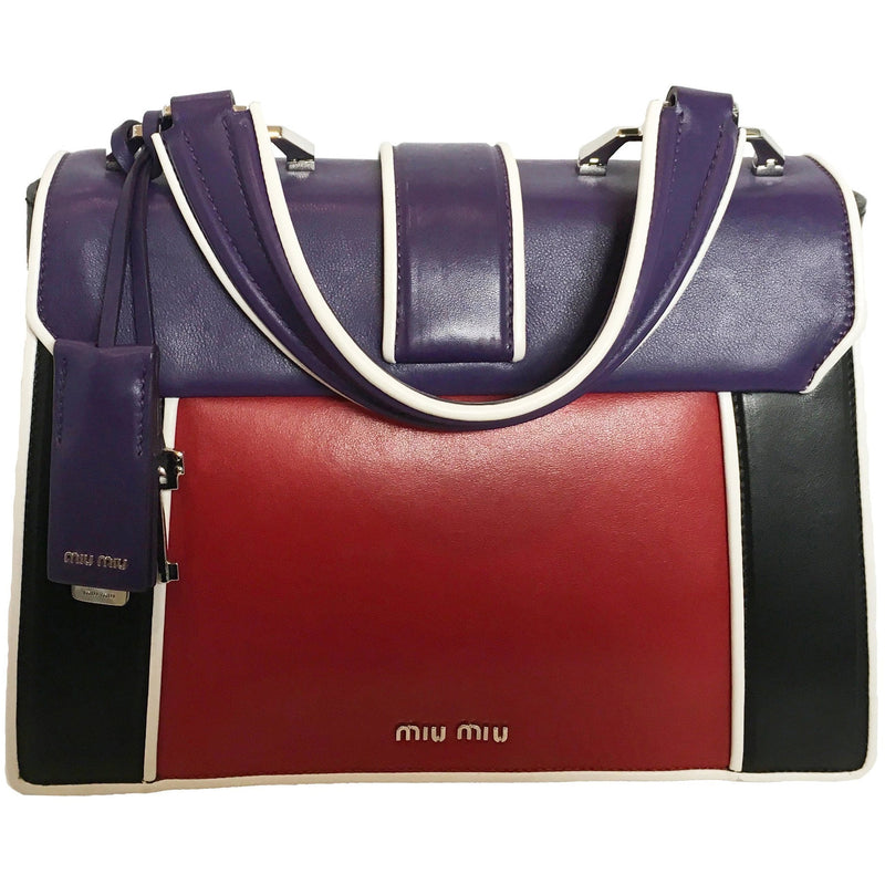Miu Miu Prada Iconic Lock Craquele Women's Purple Red Black Handbag 5BA133