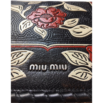 Miu Miu Prada Women's Black Madras Flor Small Leather Crossbody Bag 5BD036