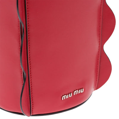 Miu Miu Prada Women's Vitello Soft Red Bucket Leather Shoulder Handbag 5BE016