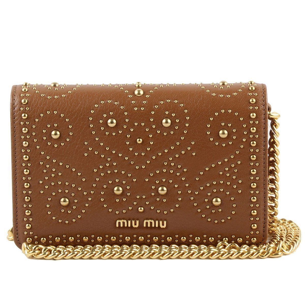 Miu Miu Prada Women's Tan Brown Gold Studded Madras Lux Crossbody 5BP006
