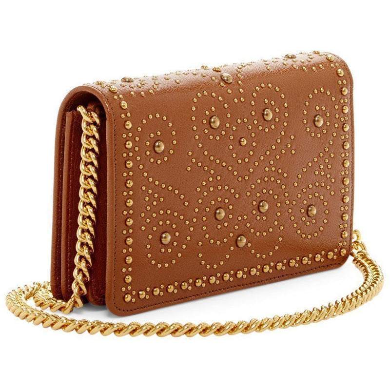 Miu Miu Prada Women's Tan Brown Gold Studded Madras Lux Crossbody 5BP006 Handbags Miu Miu