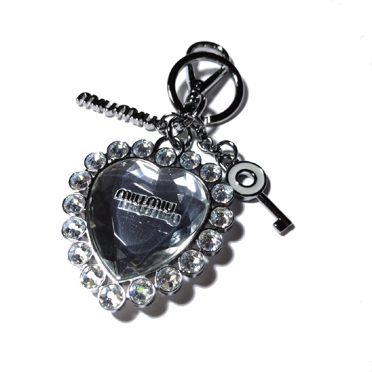 Miu Miu Trick Metallo Ghiaccio Crystal Clear Heart Plex Charm Key Chain 5TM093