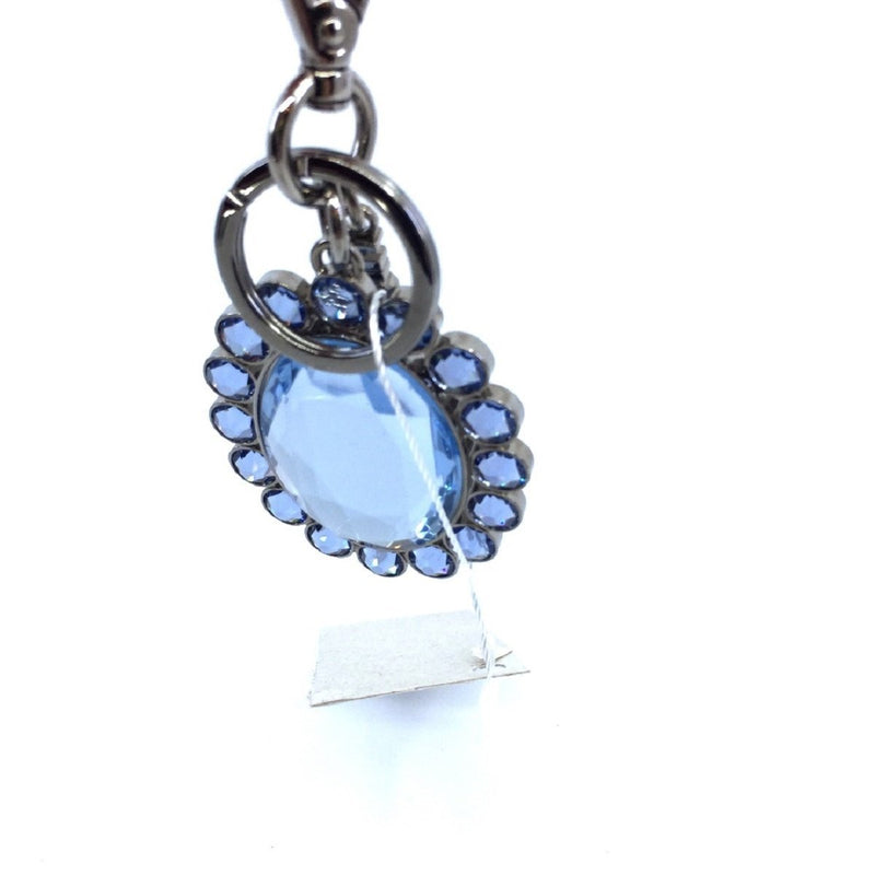 Miu Miu Trick Metallo Oval Crystal Blue Plex Charm Key Chain Key Ring 5TM092