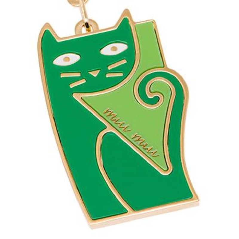 Miu Miu Trick Metallo Verde Green Cat Keychain Charm 5TM069