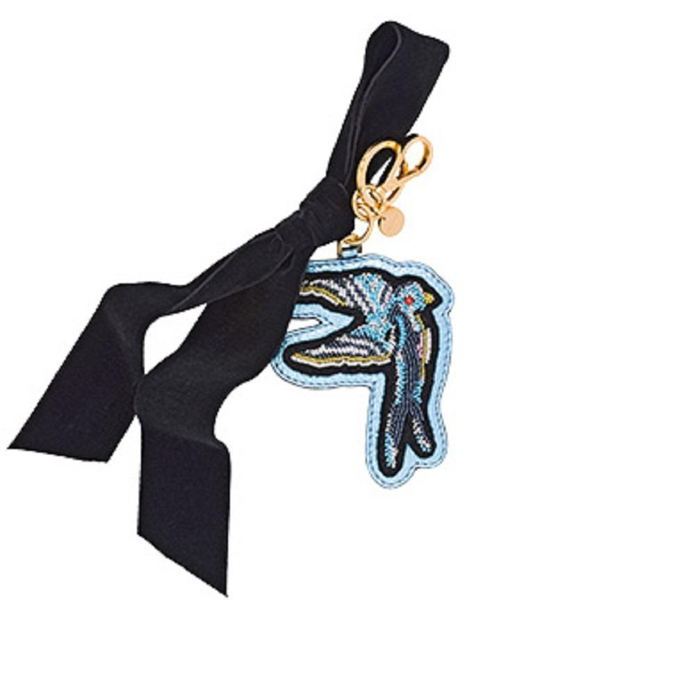 Miu Miu Trick Plex Blason Keyring Leather Beaded Blue Bird Black Velvet Bow 5TL217