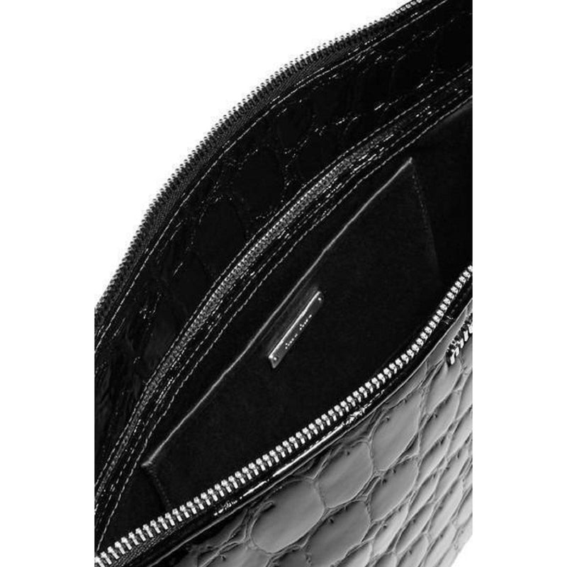 Miu Miu Women's Black Patent Leather Alligator Portfolio Clutch 5BF029 Handbags Miu Miu