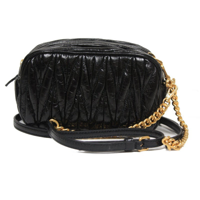 Miu Miu Women's Matelasse Black Leather Chain Crossbody Shoulder Bag 5BH634 Handbags Miu Miu