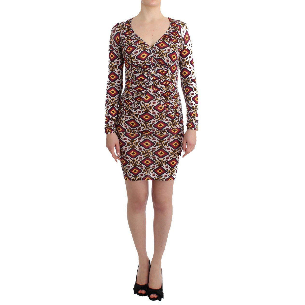 Multicolor Longsleeved Viscose Shift Dress GF Ferre