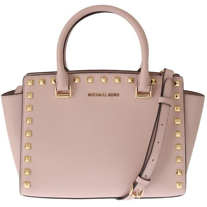 Pink SELMA STUD Leather Messenger Bag Michael Kors