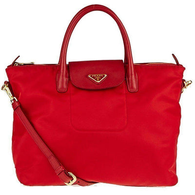Prada Classic Red Tessuto Nylon/Saffiano Leather Trim Large Tote Bag BN2541 Handbags Prada