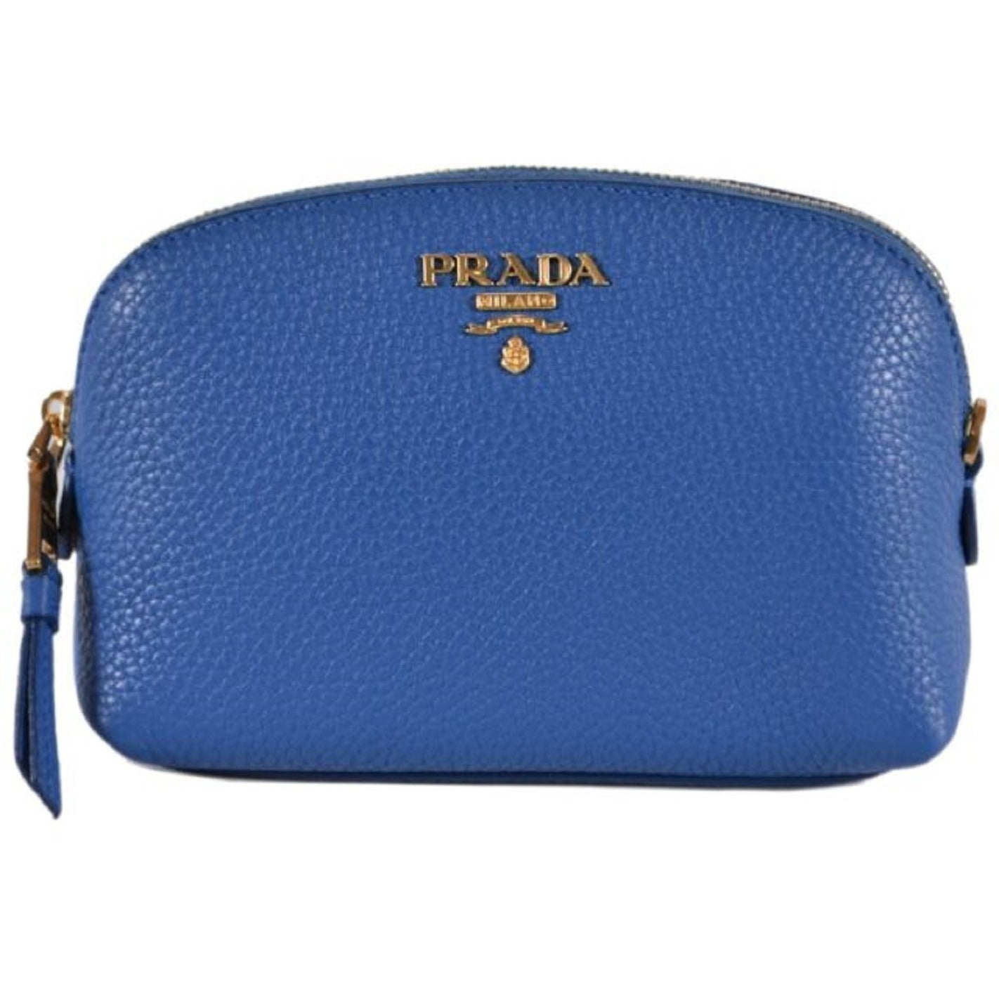 Prada Contenitore Cobalto Blue Vitello Daino Vanity Cosmetic Case 1ND005