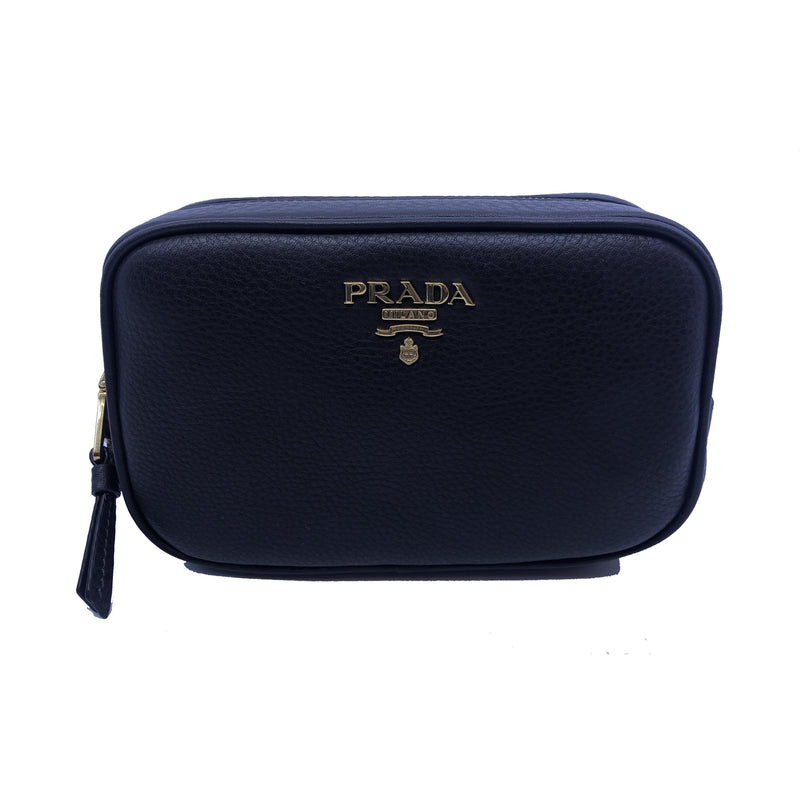 Prada Contenitore Teak Brown Vitello Daino Vanity Cosmetic Case 1ND007