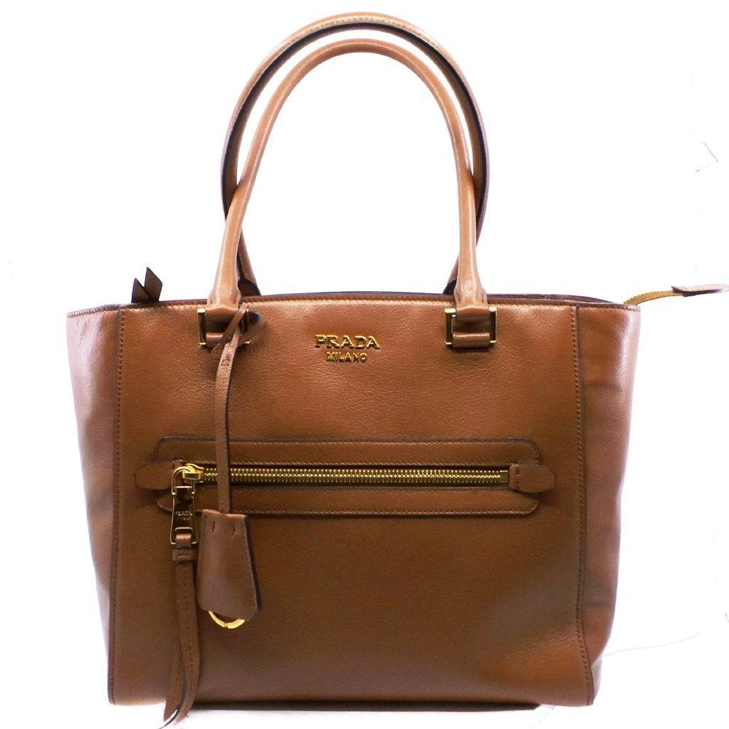 Prada Glace Calf Twin Pocket Tote Women's Cognac Brown Leather Shopping Bag Handbag 1BG227 Handbags Prada