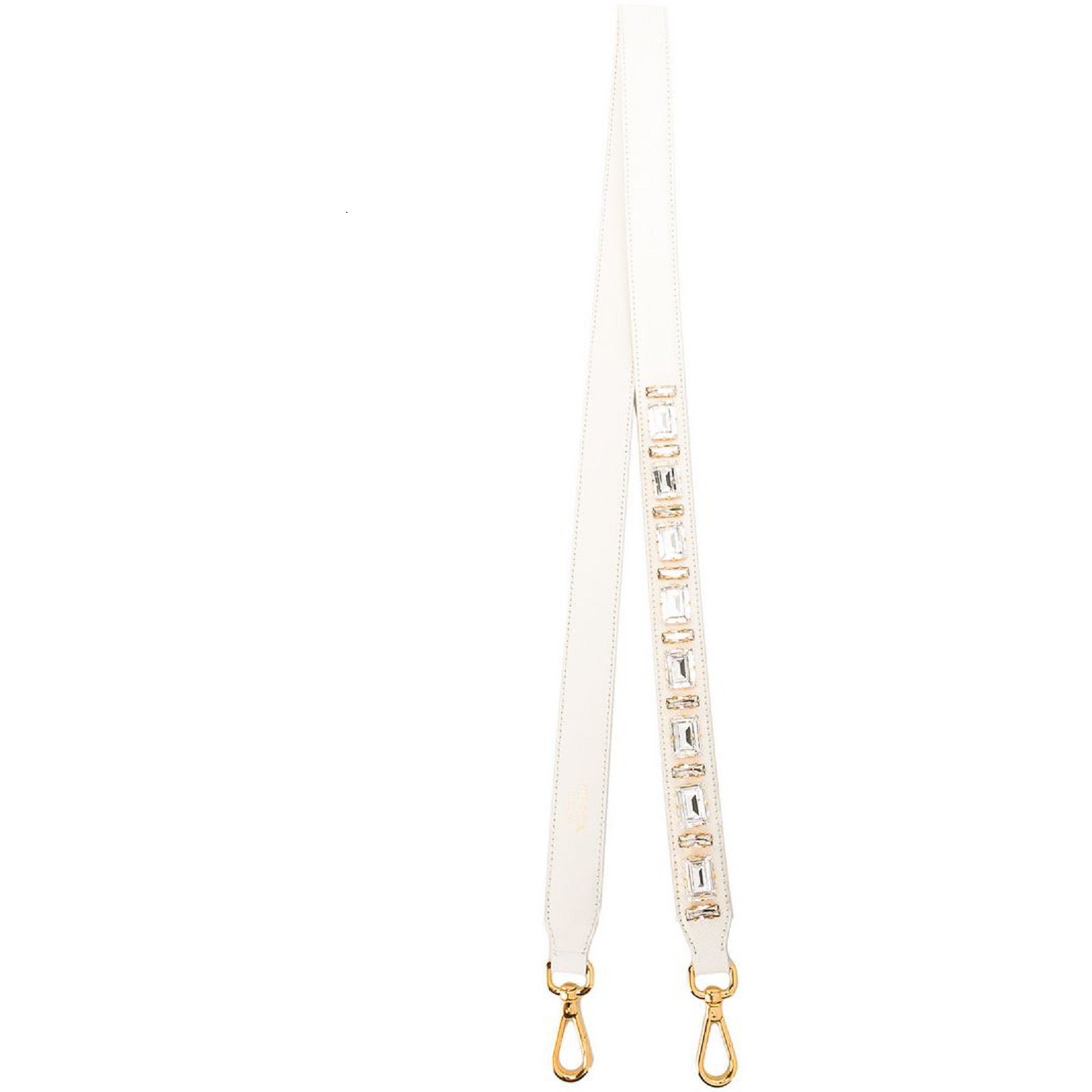 Prada Leather Saffiano Leather Crystal Women's White Strap 1TY006