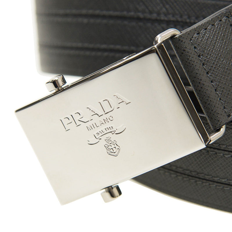 Prada Men's Logo Engraved Plaque Saffiano Leather Belt Grey Antracite 40 100 2CM009