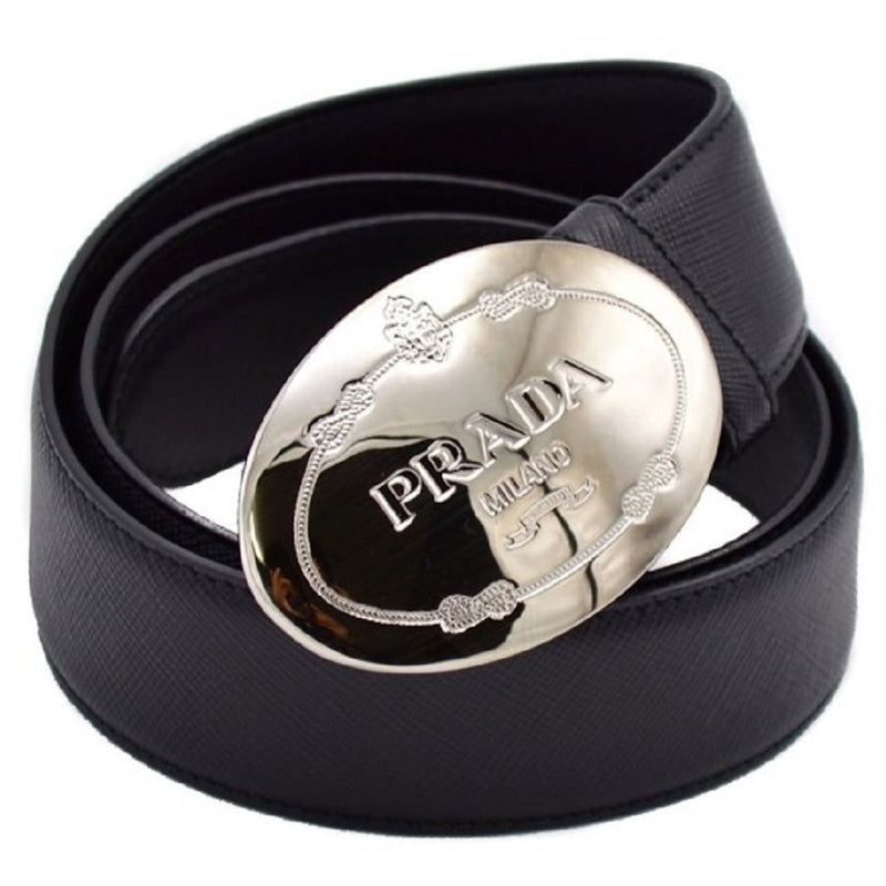 Prada Men's Saffiano Black Leather Engraved Oval Plaque Buckle Belt 2CM046 Size: 100/40