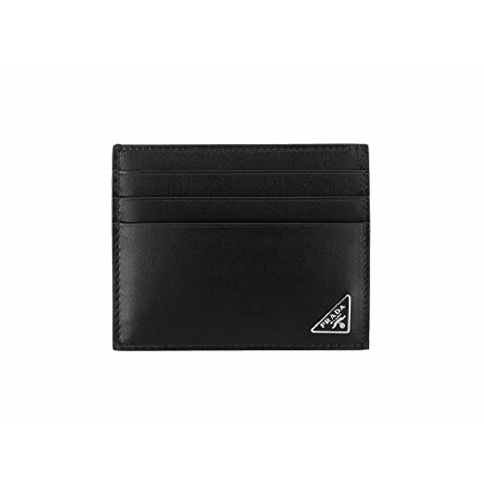 Prada Nero Black Vitello Leather Card Holder with Iconic Triangle Logo 2MC223